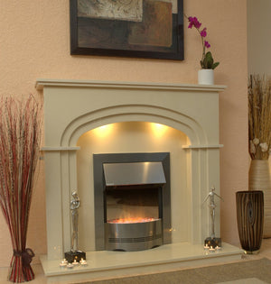 Marble Fireplace Shelbourne Fire surround with electric fire- bespokemarblefireplaces