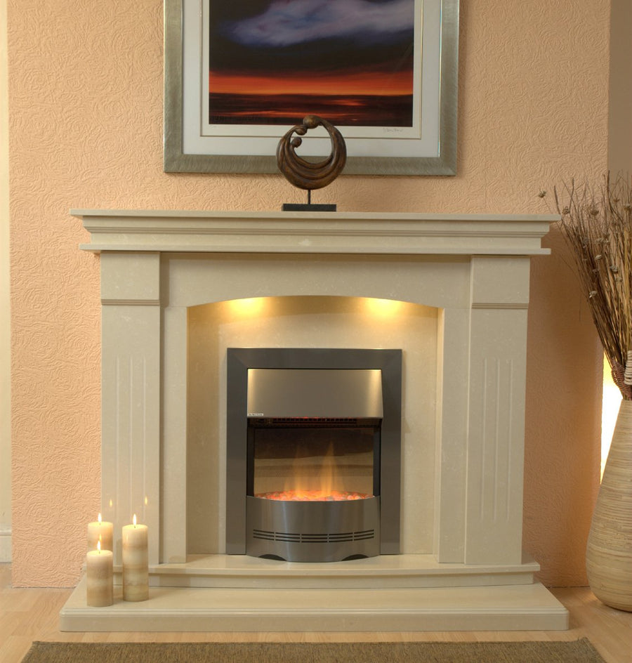 Marble Fireplace Sheridan Fire Surround with a double hearth - bespokemarblefireplaces