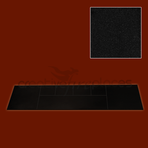 Black Granite Solid Fuel Hearth - bespokemarblefireplaces