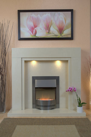 Marble Fireplace Somerset Surround with Electric Fire  and Lights- bespokemarblefireplaces