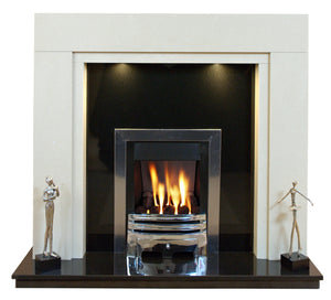 Marble Fireplace Somerset Surround with Black Granite Hearth & Back Panel - bespokemarblefireplaces