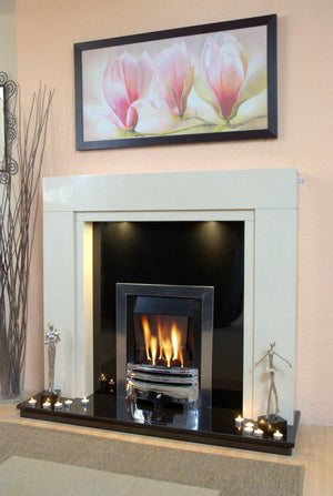 Marble Fireplace Somerset Surround with Gas Fire ,Lights and Black Hearth and Panel- bespokemarblefireplaces