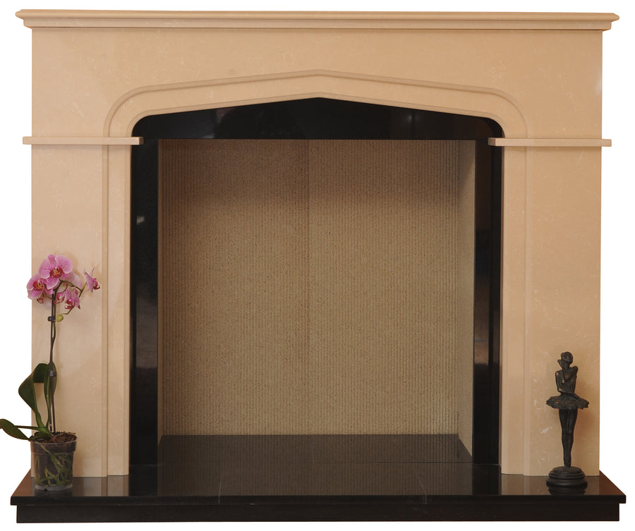 Marble Fireplace Sutton Surround Fitted around Stove  with black Hearths and Black Slips- bespokemarblefireplaces