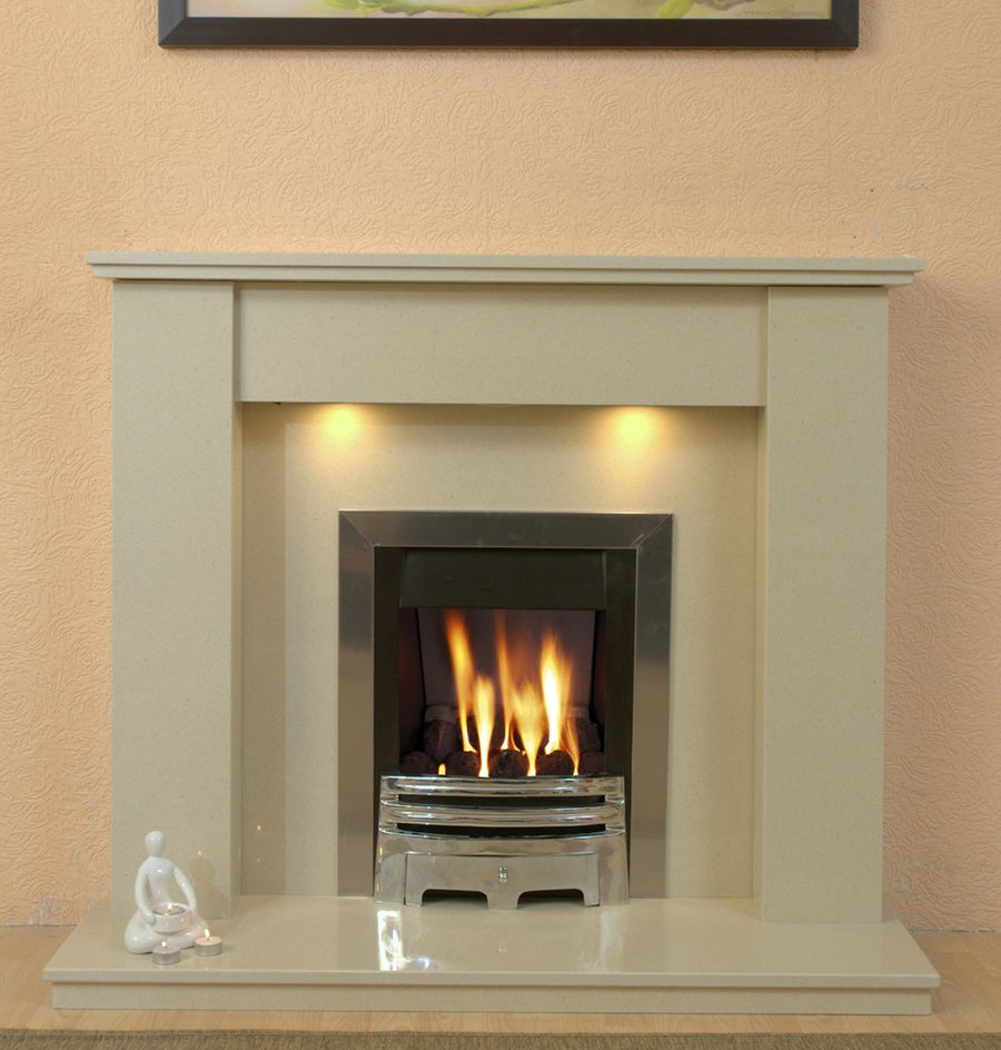 Marble Fireplace Trent Surround with Gas fire with Free Downlights - bespokemarblefireplaces