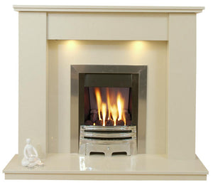 Trent Marble Fireplace Hearth & Back Panel with Free Downlights