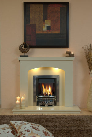 Marble Fireplace Windemere Surround with Gas Fire fitted in Lounge- bespokemarblefireplaces