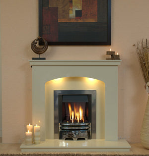 Marble Fireplace Windemere Surround with Gas Fire &  Lights   - bespokemarblefireplaces