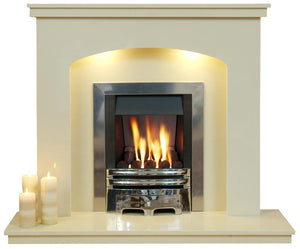 Marble Fireplace Windemere Surround with lights - bespokemarblefireplaces