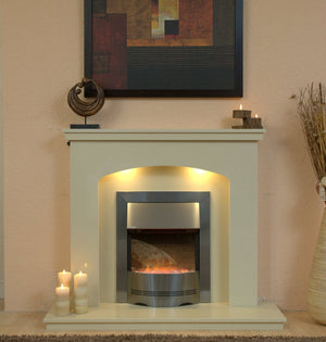 Marble Fireplace Windemere Surround with Electric Fire & Lights- bespokemarblefireplaces