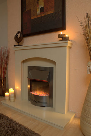 Marble Fireplace Windemere Surround with Electric Fire - bespokemarblefireplaces