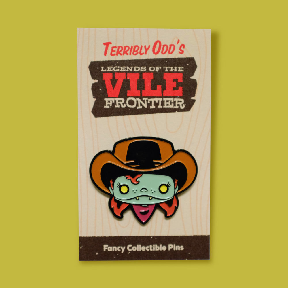Load image into Gallery viewer, Pin of Annie Oddly on backing - Terribly Odd's Legends of the Vile Frontier