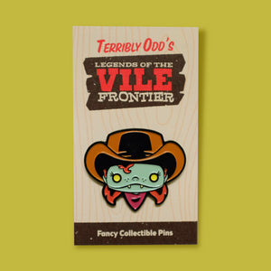 Pin of Annie Oddly on backing - Terribly Odd's Legends of the Vile Frontier