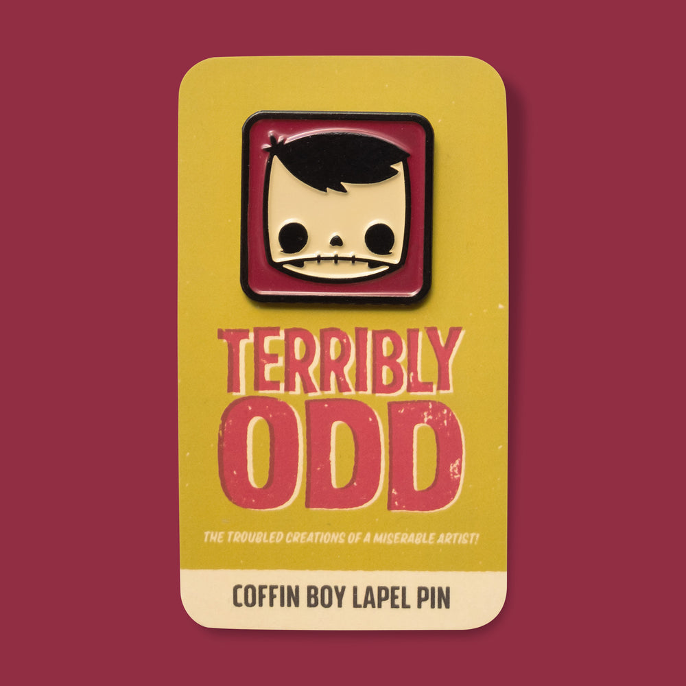 Load image into Gallery viewer, Pin of Coffinboy on backing - TerriblyOdd the troubled creations of a miserable artist. Coffin Boy Lapel Pin