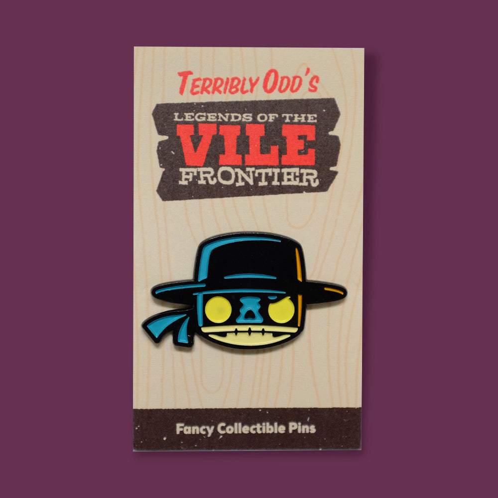 Pin of El Muerto on backing - Terribly Odd's Legends of the Vile Frontier