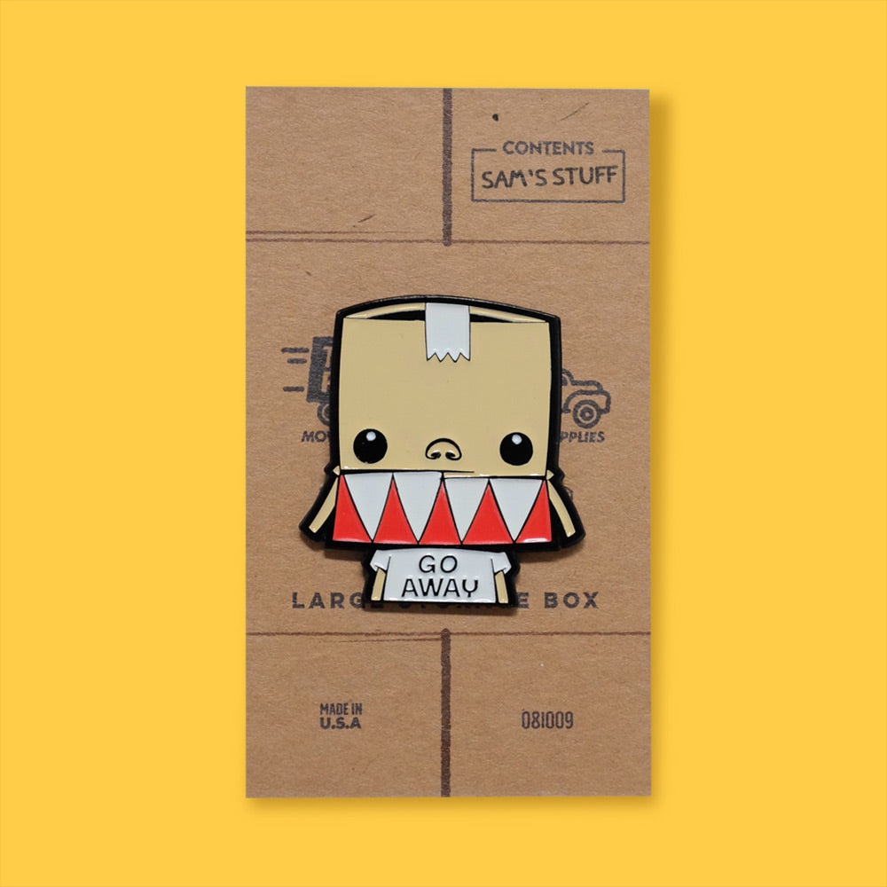 Load image into Gallery viewer, Pin of Samuel on stylized cardboard box backing