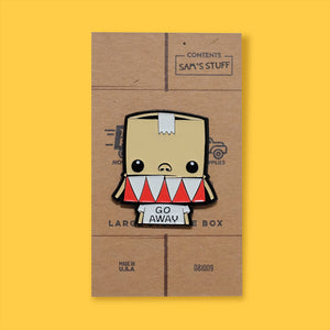 Pin of Samuel on stylized cardboard box backing