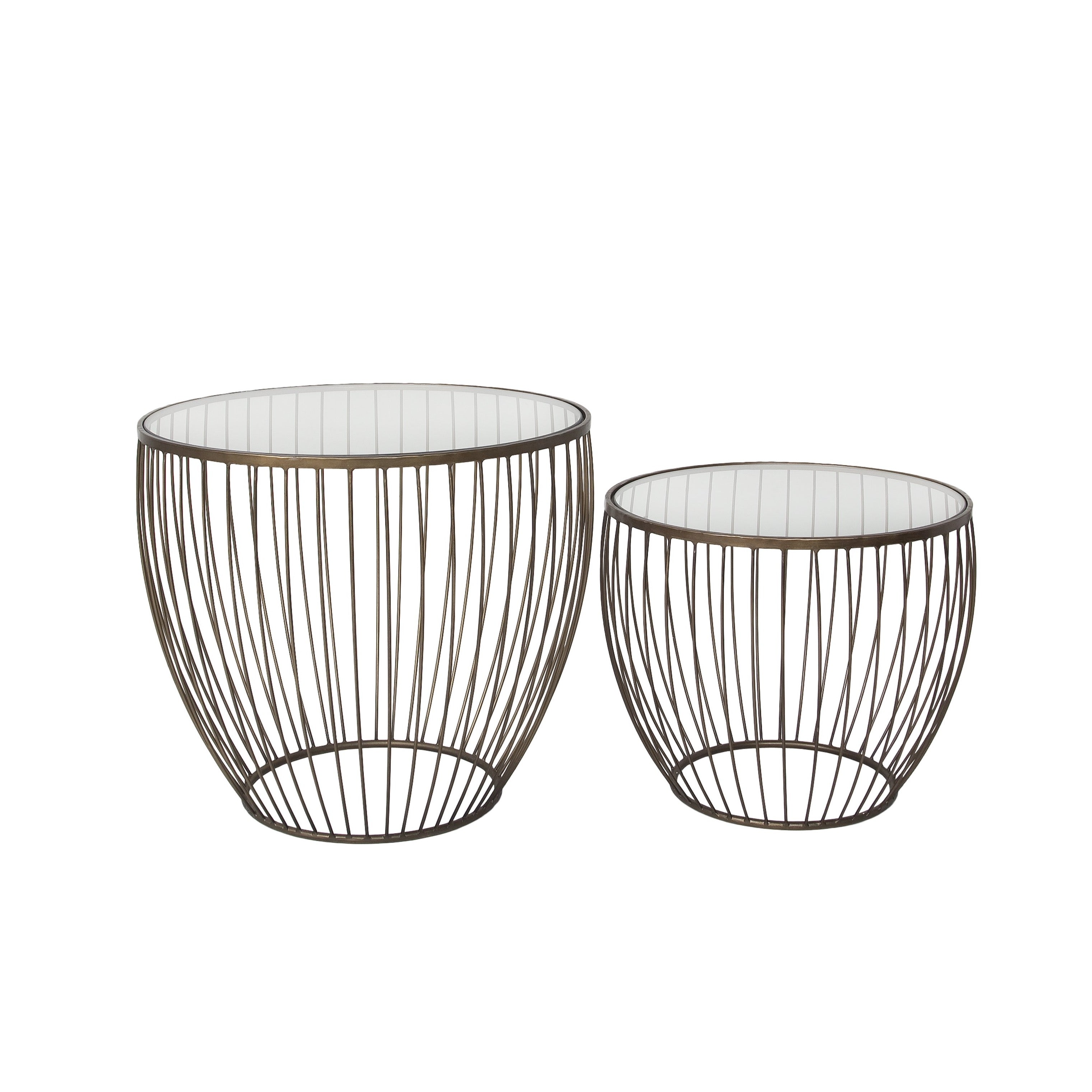 Cyclone Glass Accent Tables (Set of 2) - Gold