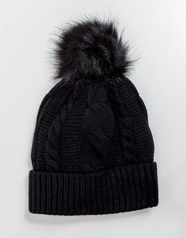 Cypress Faux Fur Pom Pom Hat