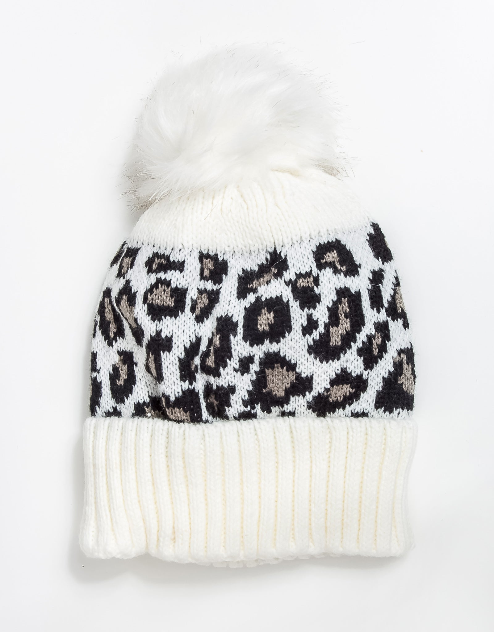 Nala Faux Fur Pom Pom Hat - White