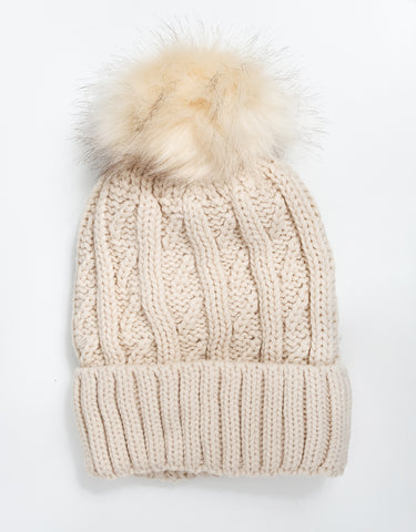 Nala Faux Fur Pom Pom Hat - Black