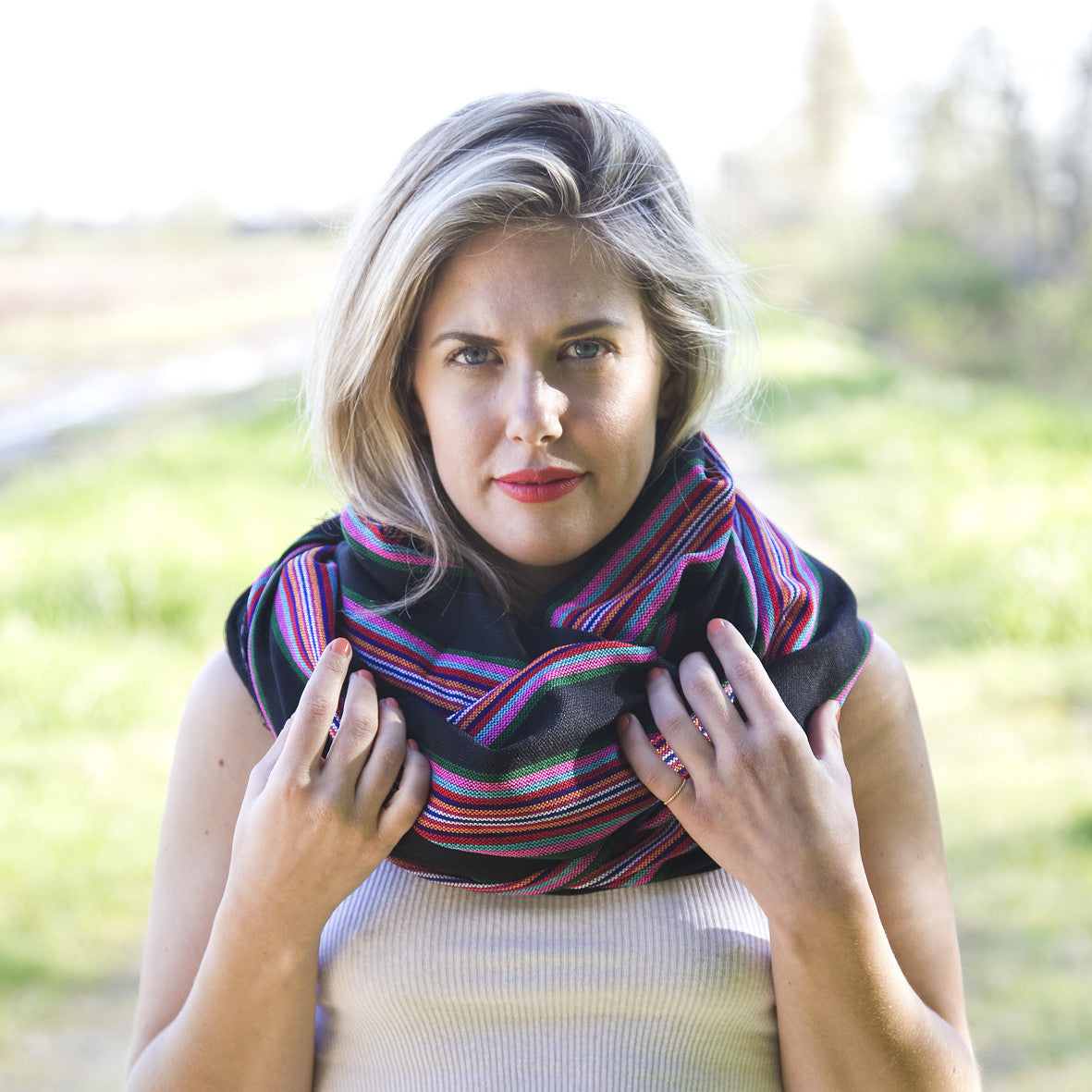 Lucia Scarf - Pink Stripe