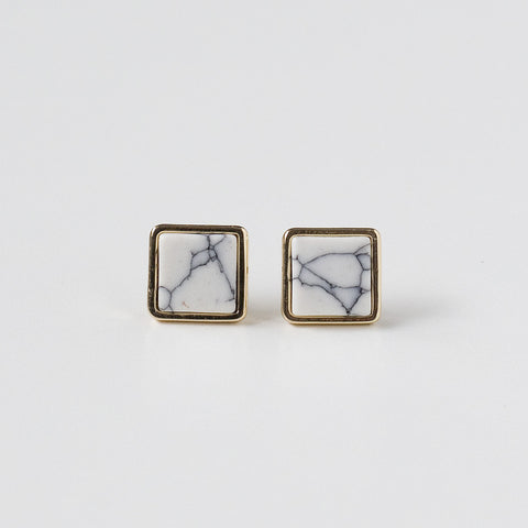 Ore Round Earrings - White + Gold