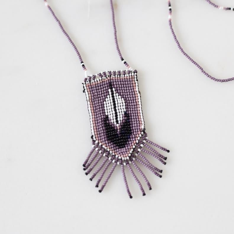 Morelia Hand Crafted Necklace - Purple Feather