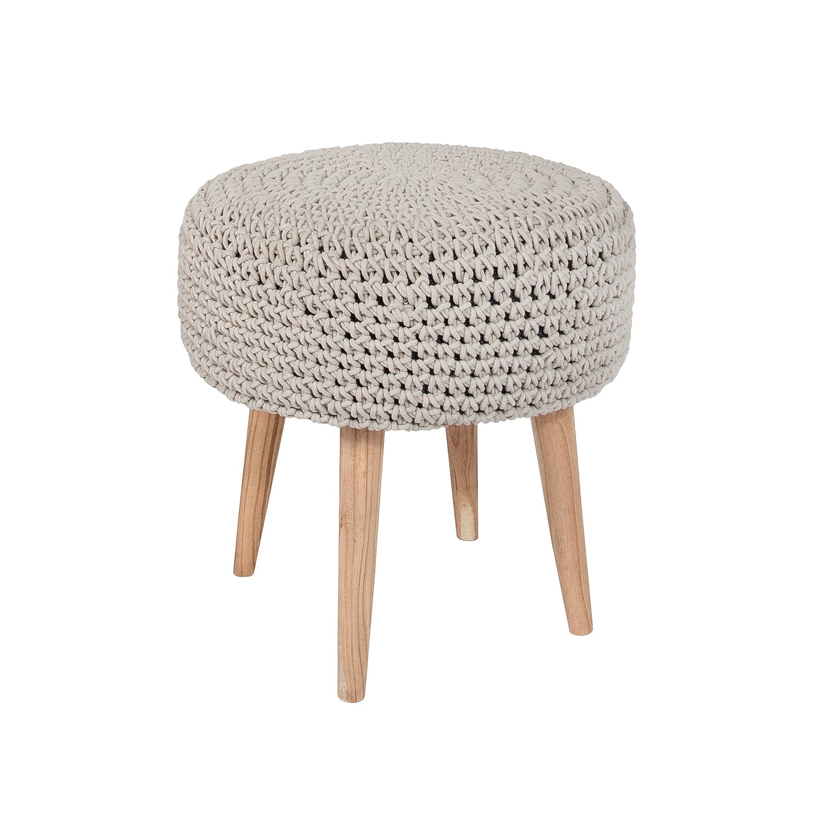 Bohemian Macrame Stool – Light Grey