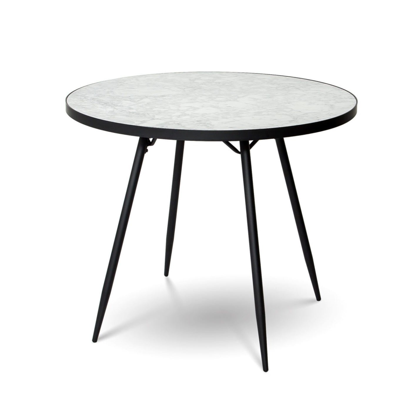 Florence Dining Table - White Marble with Black Base