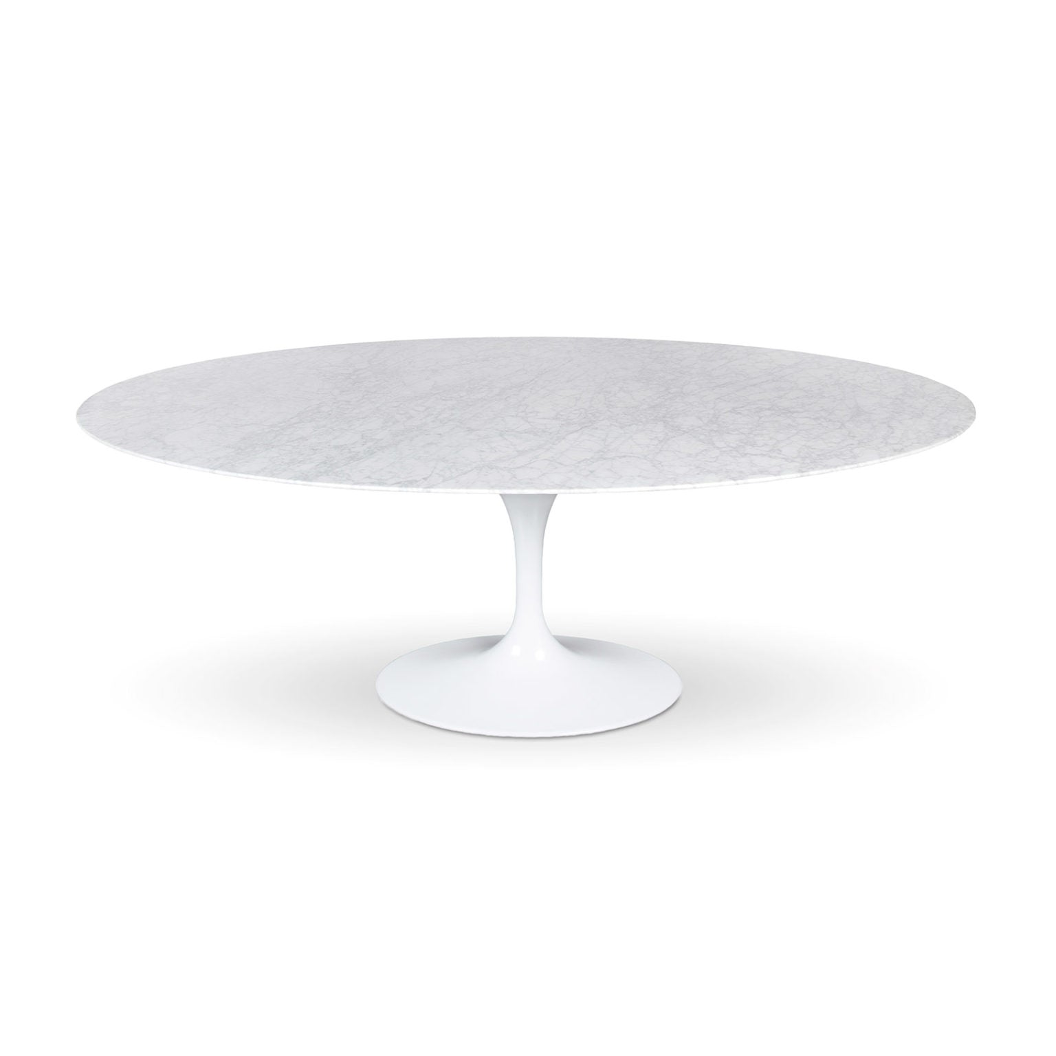 Flute Condo Size Oval Dining Table with Marble Top