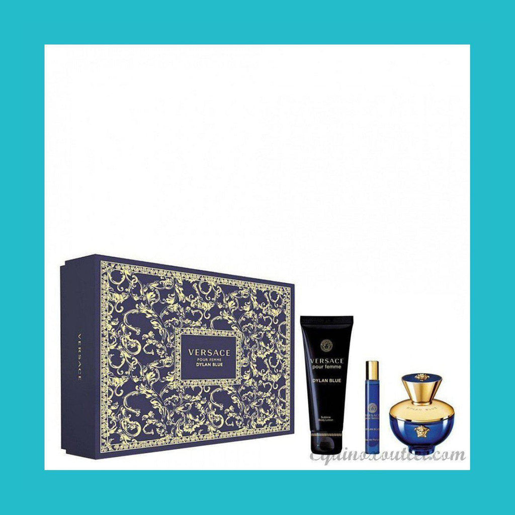 Versace Pour Femme Dylan Blue Gift Set 100ml EDP + 10ml EDP + 150ml Body Lotion | Equinox Outlet