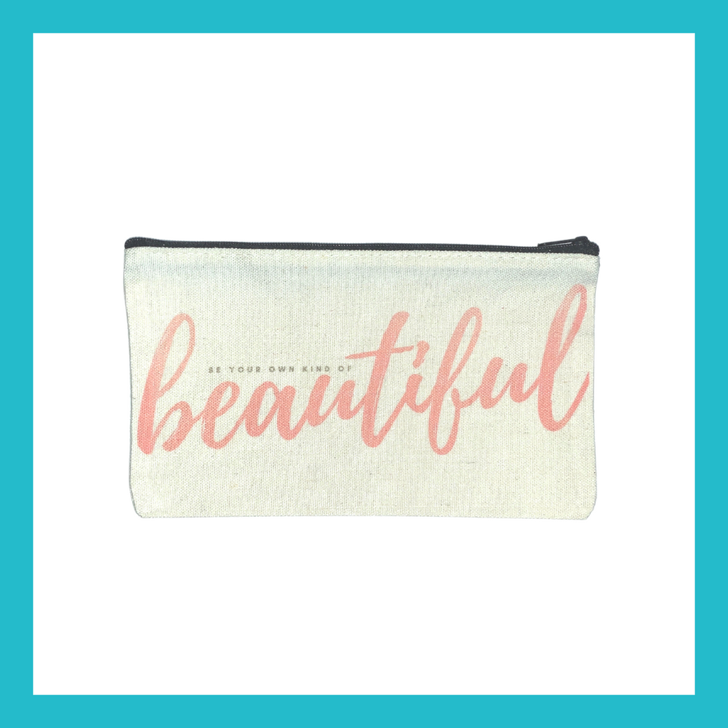 "Equinoxoutlet ""Be Your Own Kind Of Beautiful"" Canvas Makeup Pouch 