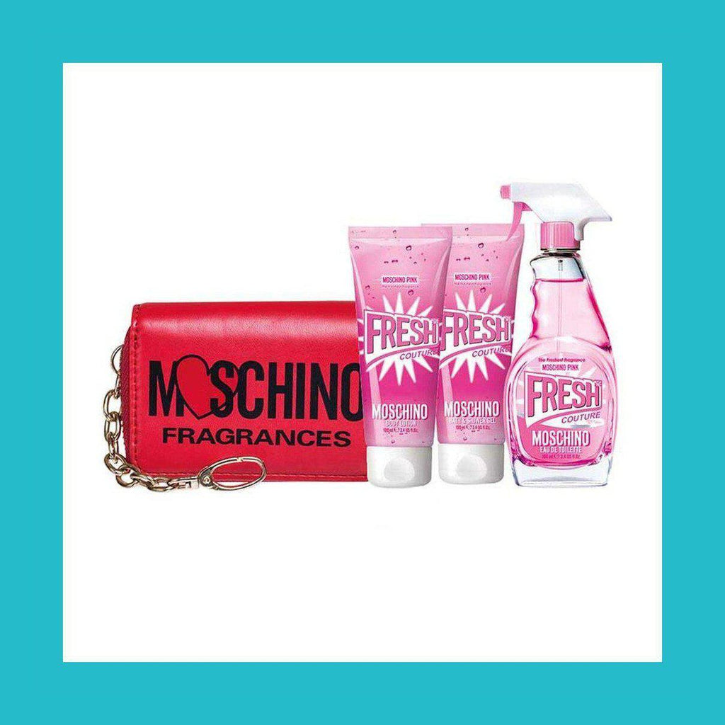 Moschino Fresh Couture Pink Gift Set 100ml EDT + 100ml Body Lotion + 100ml Shower Gel + Wallet | Equinox Outlet