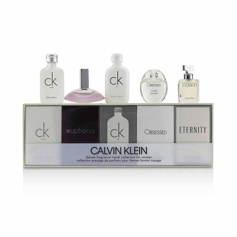 Calvin Klein Deluxe Fragrance Travel Collection For Women Miniature Gift Set 5 Pieces (1 x 10ml CK One EDT 1 x 4ml Euphoria EDP 1 x 10ml CK All EDT 1 x 5ml Obsessed For Women EDP 1 x 5ml Eternity EDP) | Equinox Outlet