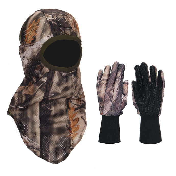 Camouflage Gloves and Face Mask Set -Breathable - Brown Woodland Camo-North Mountain Gear