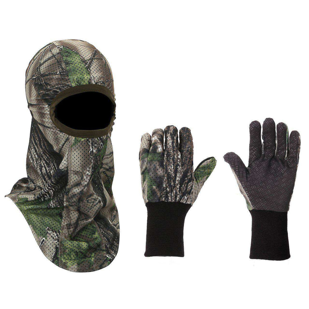 Camouflage Gloves and Face Mask Set -Breathable - Green Woodland Camo-North Mountain Gear