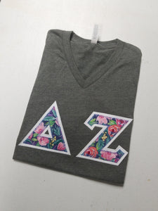 Floral Letters Bella-Canvas V-Neck