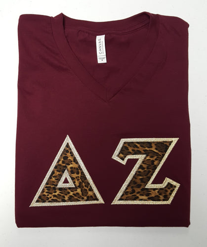 Custom Cheetah Letters Bella-Canvas V-Neck