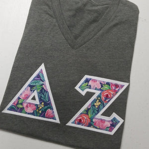 Custom Floral Letters - Short Sleeve Bella-Canvas Crew Neck T-Shirt