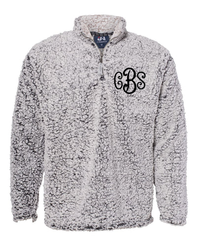 Curly Monogrammed Sherpa 1/4 Zip - Uni-Sex