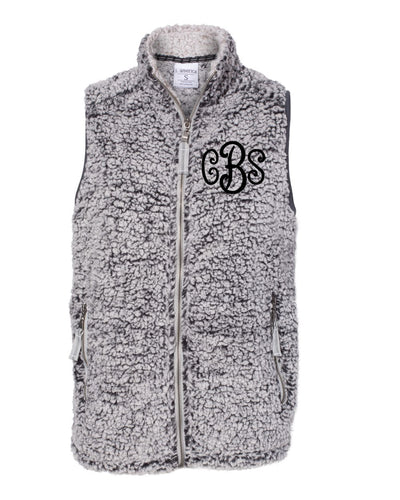 Curly Monogrammed Sherpa Vest - Womens