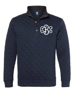 Curly Monogrammed Quilted Snap Pullover