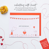 Heart Balloons - Kids Limited Edition Valentines Box Set of 8 Cards