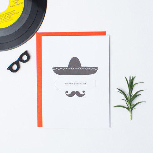 Sombrero Stache - Single Card