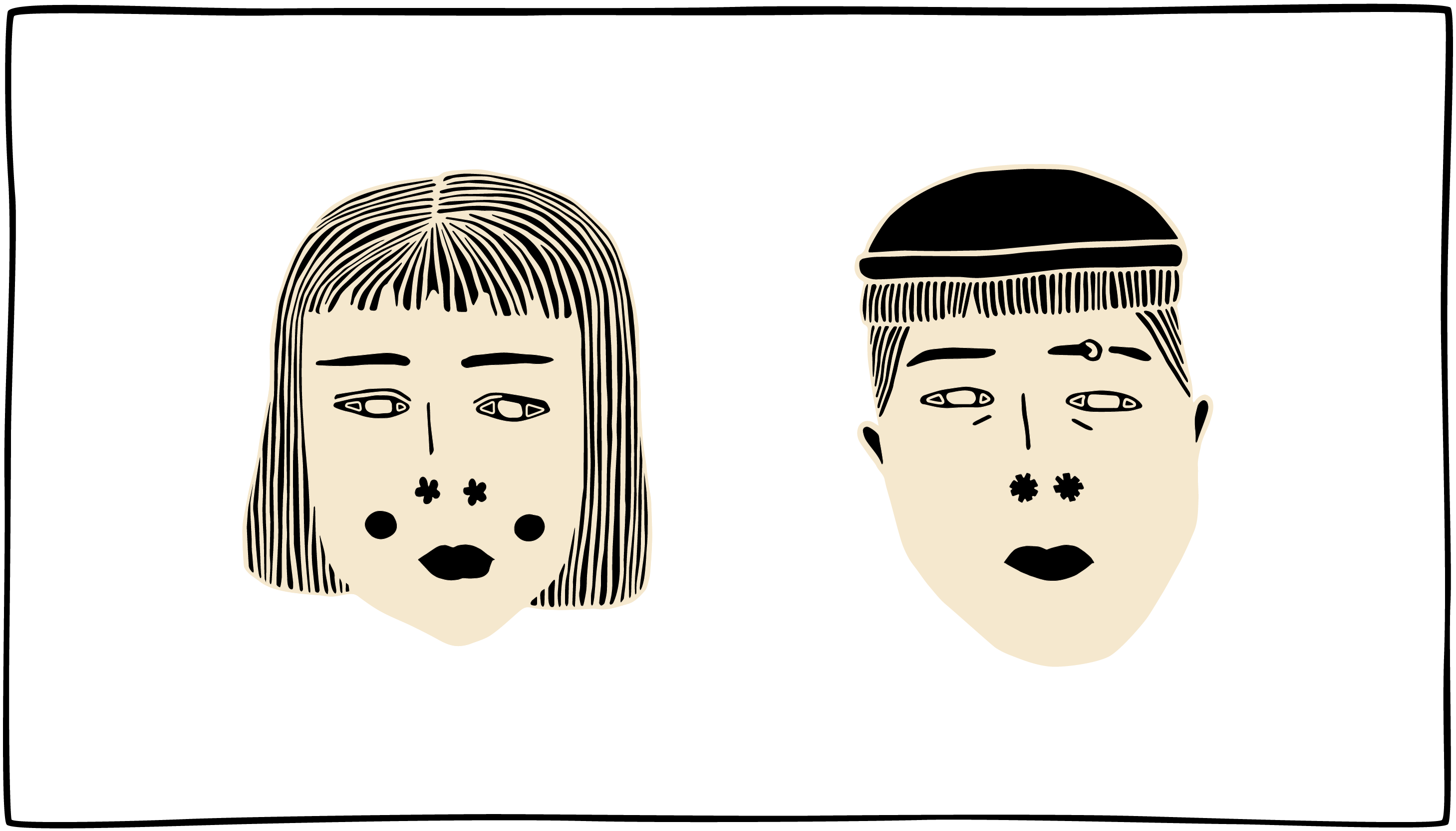 Black and off-white illustration of a short-haired girl and a boy wearing a beanie