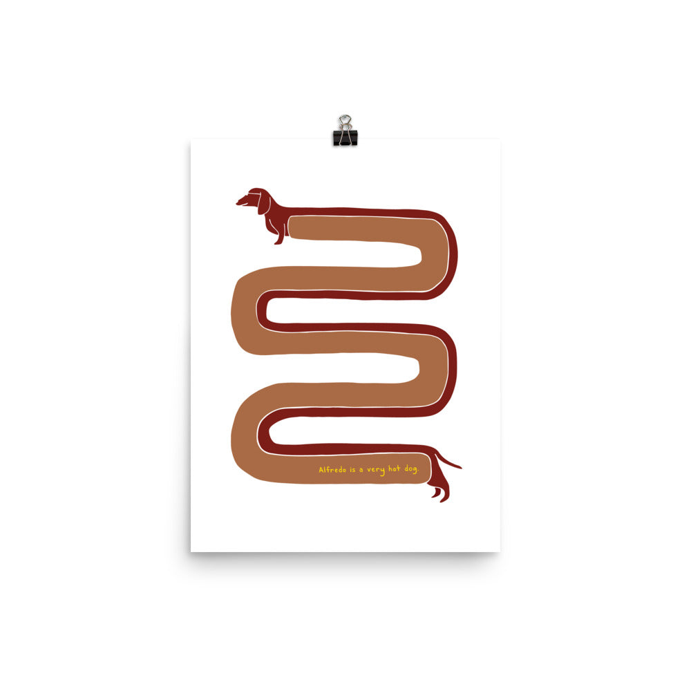 Illustration of a hot dog in a very long S shape