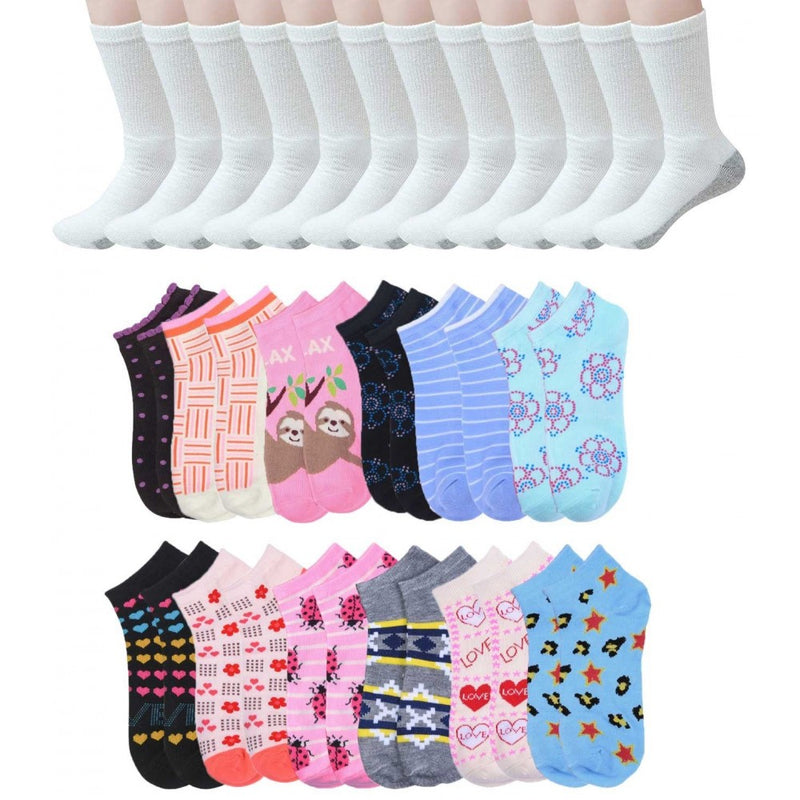 144 Pairs - Wholesale Socks Combo Pack Men's Crew Cut Athletic Size 10-13 in White with Grey and Women's Colored Size 9-11