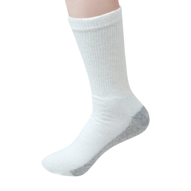 180 Pairs - Wholesale Socks Unisex Crew Cut Athletic Size 10-13 in White with Grey