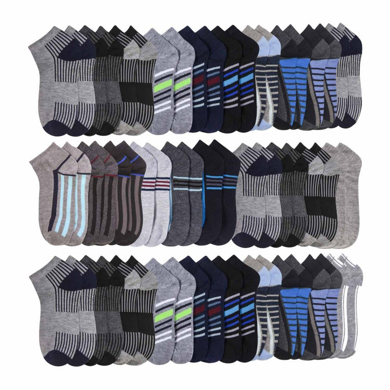 48 Pairs Total - Mens White Crew Socks Size 10-13 and Low Cut Size 10-13 in Assorted Colors