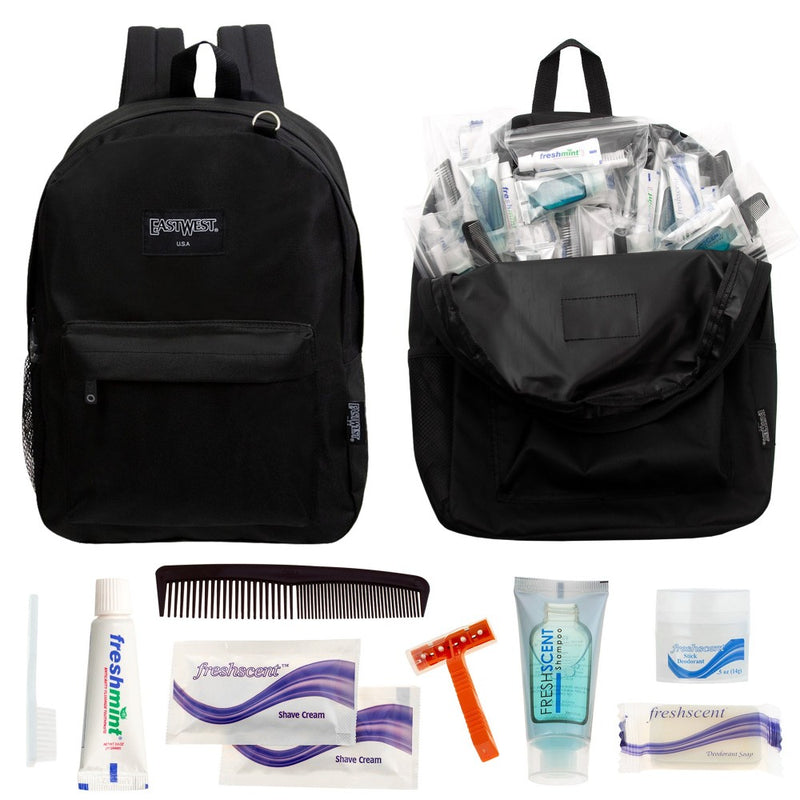 Emergency Survival Kits Case of 12 Backpacks and 12 Wholesale Hygiene Kits - Bulk Homeless Care Package Supplies